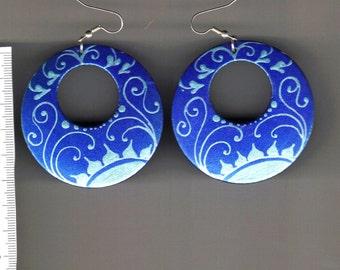 hand painted wood earrings -Floral