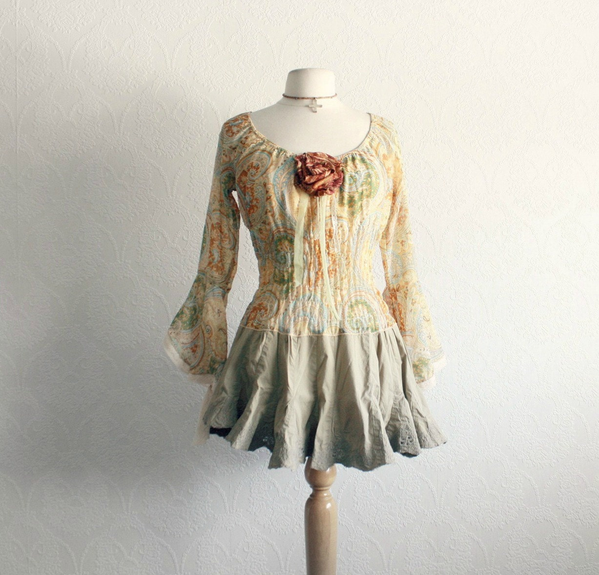 Romantic Top Bohemian Blouse Golden Tan Upcycled Clothing