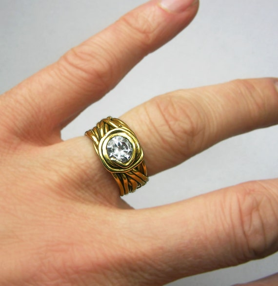 SALE-Gold CZ Wrap Ring
