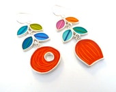 Dutch long vine earrings,multi color,resin inlay,sterling silver,mixed media,hand made