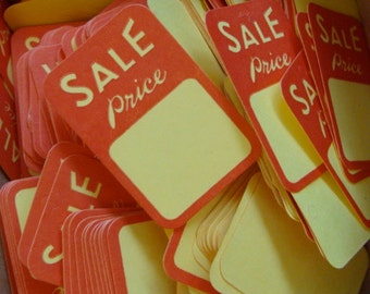One Dozen Vintage Price tags Adorable small size