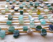 Antique Roman Glass Necklace - Green Glass, Aqua Glass, Extra Long Statement Necklace