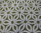Moss Olive Hofmann Daisy Vintage Chenille Fabric