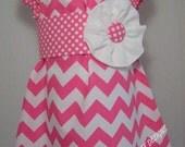 Pink Chevron with Sash Peasant Top/Dress size 6y,7y, or 8y