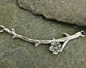 Cherry Branch - Curved Sterling Silver Branch Link Or Necklace Centerpiece - One Piece - ncpcb