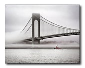 Harbor Fog Fine Art Photography, Tug Boat Under The Bridge, Cold Wet Morning, Brooklyn, Bay Ridge, Staten Island, NYC, City, Hudson River