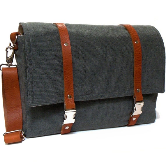 "15"" Laptop messenger bag - gray herringbone and brown leather"