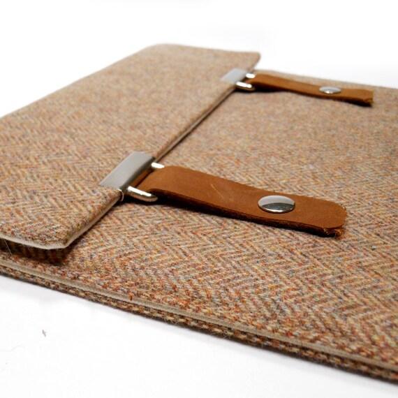 iPad case - brown herringbone tweed
