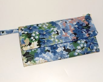Monet Floral in Blue Wallet / Wristlet / Check Book / Cell phone
