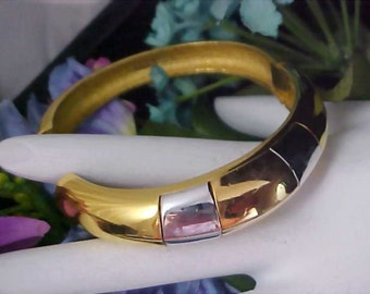 CROWN TRIFARI - Heavy Gold & silver Plate Bangle  -  Clamper Bracelet