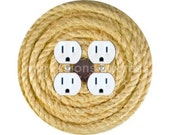 Nautical Sisal Rope Double Duplex Outlet Plate Cover