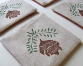 Set of 4-Winter pinecone fabric coasters