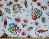 Fat Quarter Sweets and Treats, Balloons, Ice Cream Cones Bright Cheerful Celebration Print