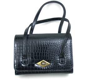20 SALE // vintage black handbag // faux aligator skin 60s purse