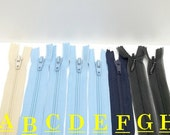 beige, sky blue, midnight blue, black 13.5 inches long zippers sewing, crafting, costume making projects
