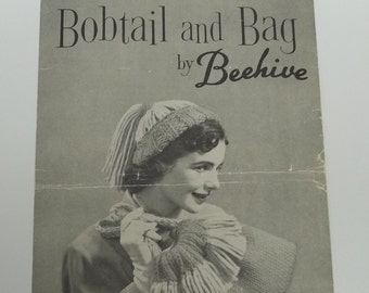 Vintage Bobtail and Bag knitting pattern sheet by Beehive