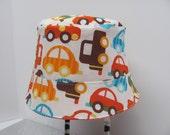 ORGANIC / Last One / Reversible Bucket HAT / Size Medium / 12-24 months / Baby Hat / Sun Hat / Toddler & Kids / Beach Hat / ORGANIC Cars