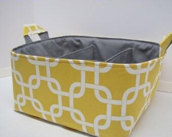 NEW Fabric Diaper Caddy - Fabric organizer storage bin basket - Perfect for your nursery - Geometric Yellow