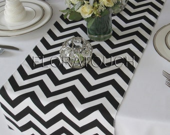 White and Black Chevron Table Runner Zigzag Wedding Table Runner
