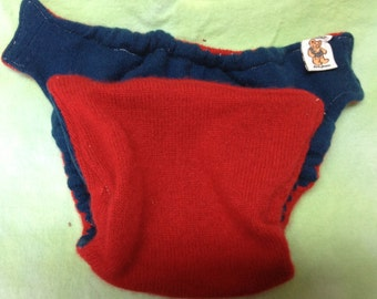 MamaBear BabyWear One Size Wool Diaper Cover Wrap - Closureless - Patriotic Red & Blue Cashmere