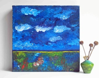 Abstract Expressionist Painting Clouds Landscape 12x12 Fine Art Modern Acrylic on Canvas Colorful Contemporary Small Wall Decor Under 150