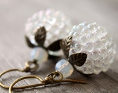 White Berry earrings with antique brass
