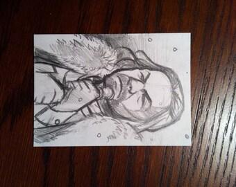 "Game of Thrones - Eddard Stark 2.5"" x 3.5"" sketch card - original graphite"