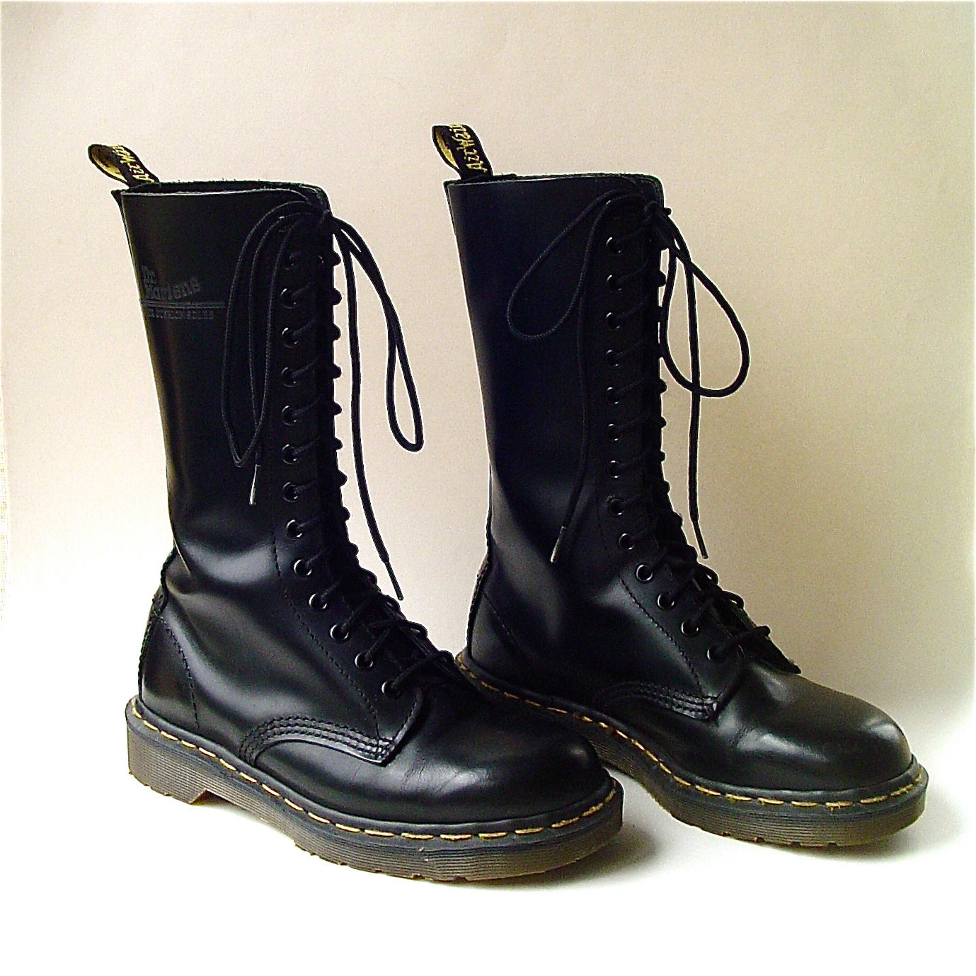 Vintage Doc Martens Air Wair Tall Black Leather Combat Boots