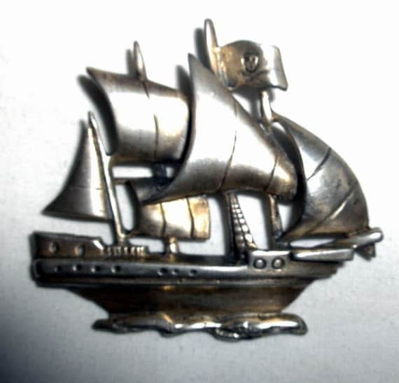 BROOCH / PIN - SHIP - Marleen - Sterling Silver - Pirate - Signed