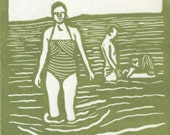 Swimming Linocut Card - Moss Green Ink on White Card