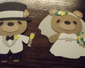 Teddy Bear die cuts- bride and groom