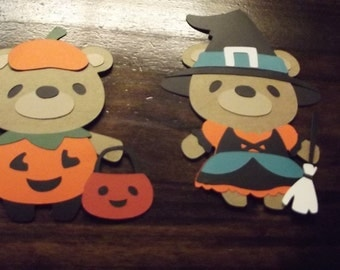 Teddy Bear die cuts- pumpkin and witch bears