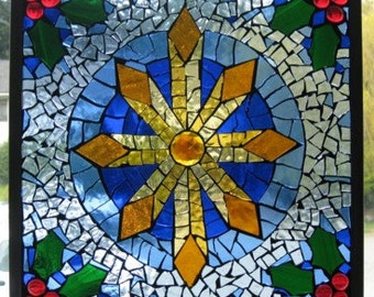 Christmas star stained glass mosaic