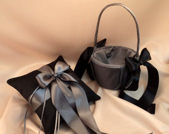 Custom Colors Flower Girl Basket and Ring Bearer Pillow Combo...You Choose the Colors..shown in black/deep gray pewter charcoal