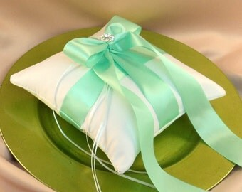 Romantic Satin Elite Ring Bearer Pillow...You Choose the Colors...Buy One Get One Half Off...shown in white/mint green