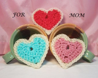 Pot Scrubbers. Hearts, red, blue, pink, scour pads, home cleaning aid, scratch resistant, gift for mom, sturdy. Mother's Day 3-pack.