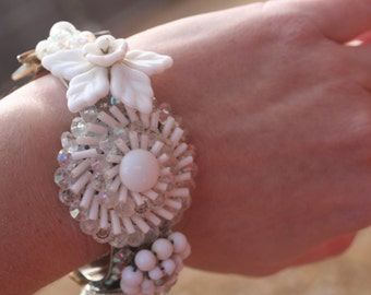 One of A Kind Upcycled Vintage Something OLD White Crystal Flower COLLAGE Bridal Cuff Bracelet Milk Glass