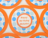 12 Favor Tags - Happy Birthday Orange and Blue Polka Dots - Custom Message or Number