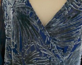 "920-22, 38"" bust, art deco designed gray cut chiffon velvet, over dark blue silk satin, gown."
