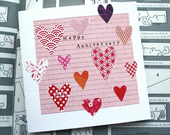 Happy Anniversary Card, wedding anniversary, hearts, pink, love
