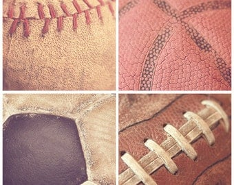 Set of 4 Vintage Sports 8x8 Fine Art Photography Prints