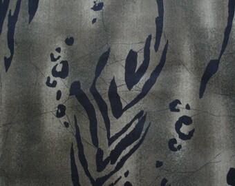 "RARE ANIMAL FABRIC  Jungle Footprints on Olive Green Alexander Henry Last 34"" Piece - #K5"