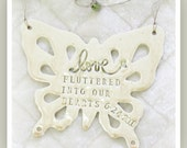 Butterfly Anniversary Wind Chime  Ceramic Stoneware Clay