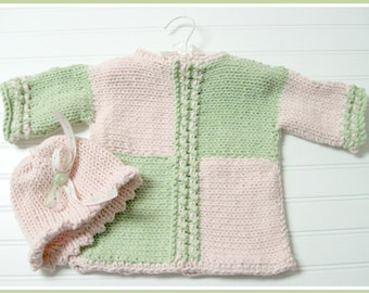 Knitting Pattern Child Side to Side Pullover and Picot Beanie