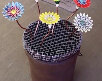 Decorative Garden Stakes, Flower Garden Stakes, Ceramic Flower Stakes--MADE TO ORDER