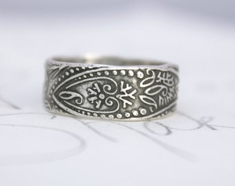 wide mens wedding band . recycled silver paisley ring . engraved silver ring . bohemian wedding ring . made to order by peaces of indigo