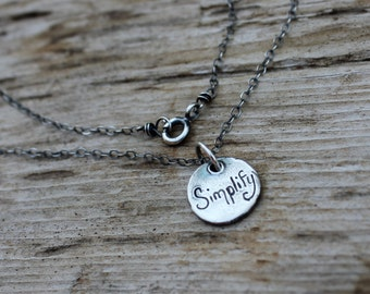 simplify talisman charm necklace . inspirational jewelry jewellery . long silver necklace by peacesofindigo . ready to ship