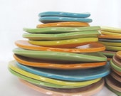 """Colorful Bright 5"""" Handmade Pottery Plate Embossed Stoneware by Centered ClayWorks"""