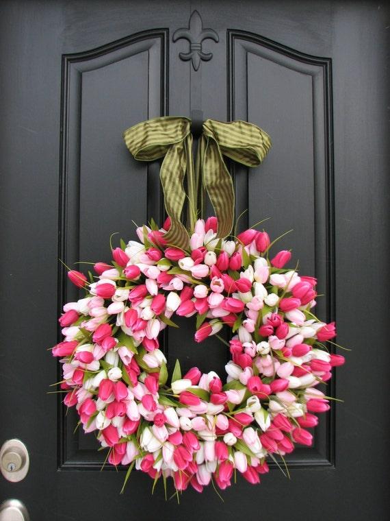 Easter Wreath: Items Similar To Wreath Tulips Front Door Wreath Door