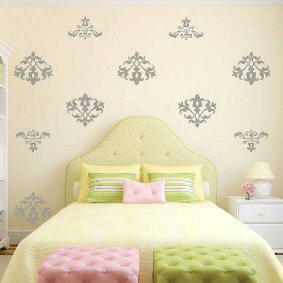 Floral Damask Vinyl Wall Decal Pattern, Shabby Floral Flock Damask- 12 graphics , sticker, wallpaper, item 10006